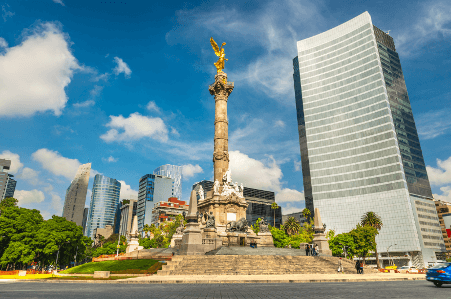 The Angel of Independence is one of top 14 tourist attractions in Mexico City.