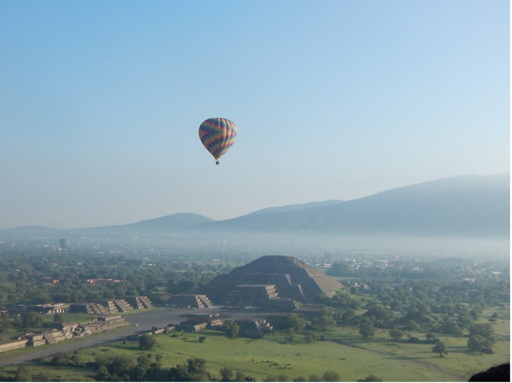 You can book a hot air balloon flight above Teotihuacan near Mexico City.