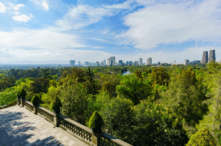 Chapultepec Castle gives a great view of Chapultepec Park in Mexico City.