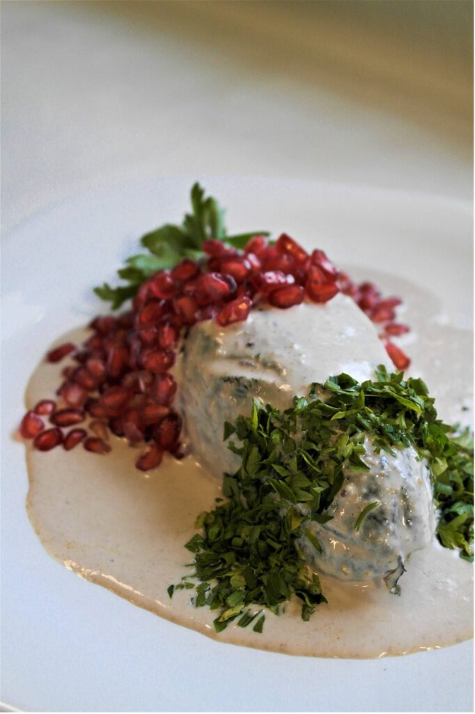 Chiles en nogada are made of meat, pomegranate seeds, walnuts, and cream.