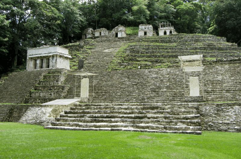 Ancient ruins in Bonampak, a Mayan city in Chiapas