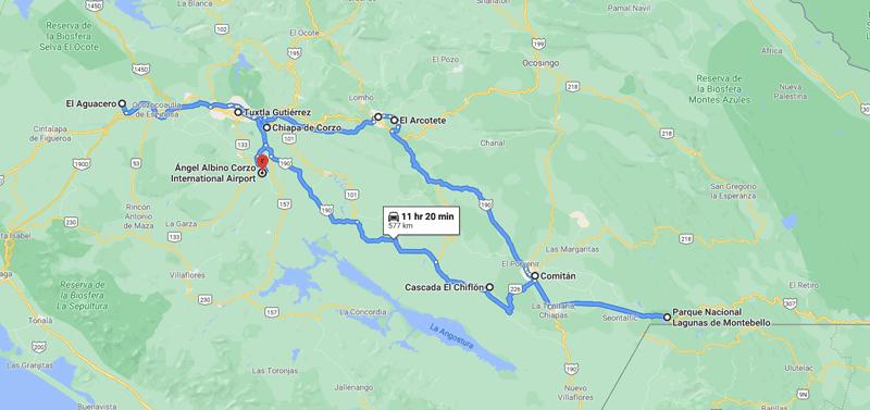 Chiapas itinerary: map