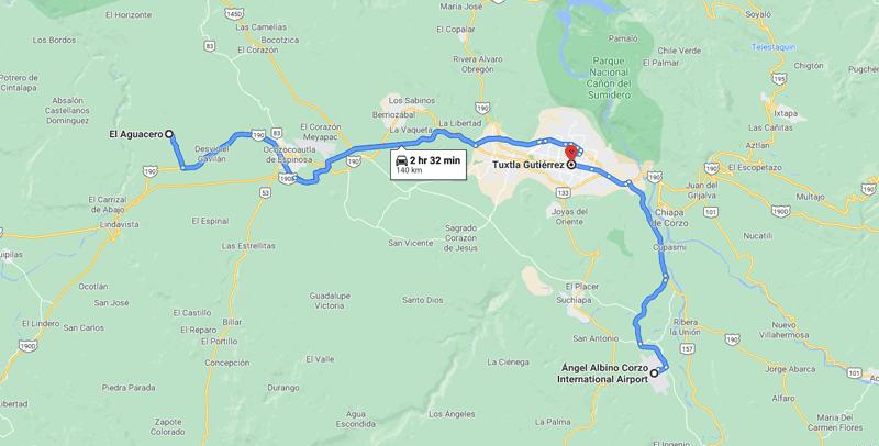 Chiapas itinerary: map (day 1)