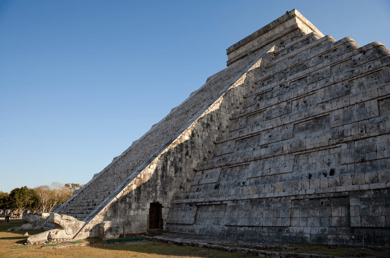 The illusion of a snake on The Temple of Kukulcán in Chichén Itzá, Mexico.
