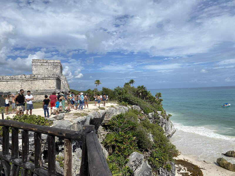 People in Mayan city Tulum, Mexico