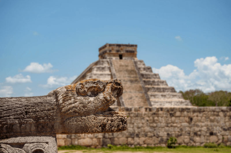 Sculpture of feathered serpent, an important god in Mexican culture
