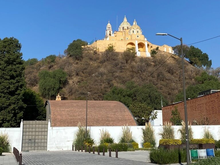 The Great Pyramid of Cholula with a Christian cathedral on top (near Puebla, Mexico)