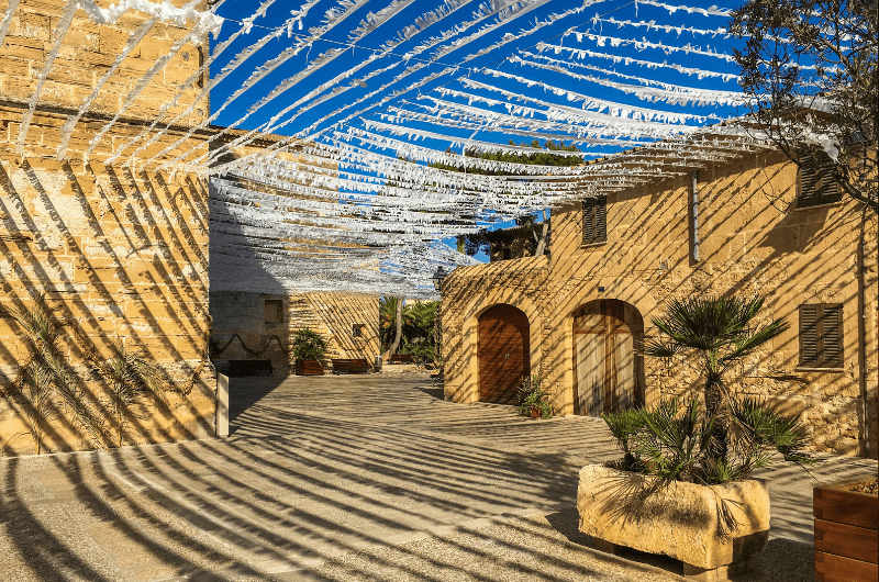 Traditional decoration on the square in Alcudia