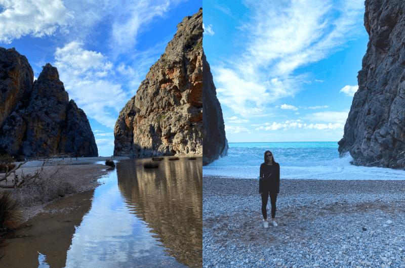 A way to Sa Calobra beach, Karin at Sa Calobra beach