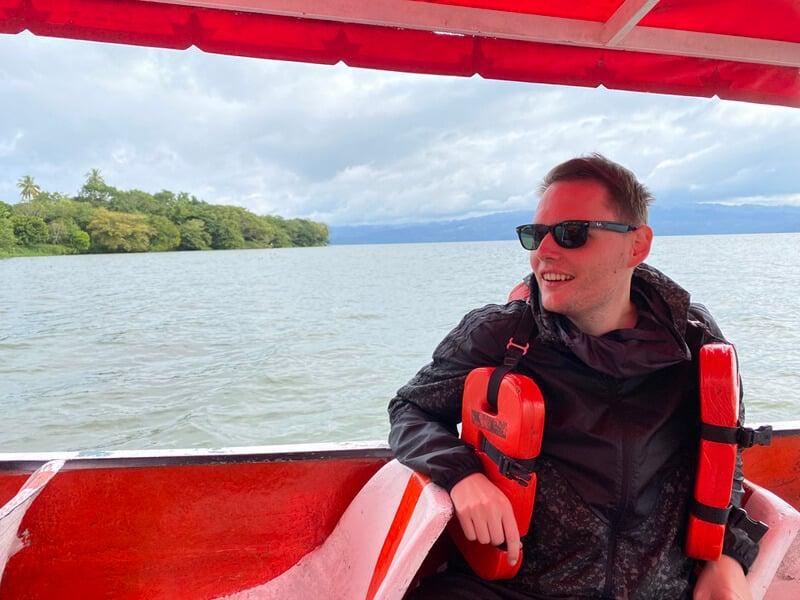 Me on a boat trip in Laguna Catemaco in Veracruz, Mexico