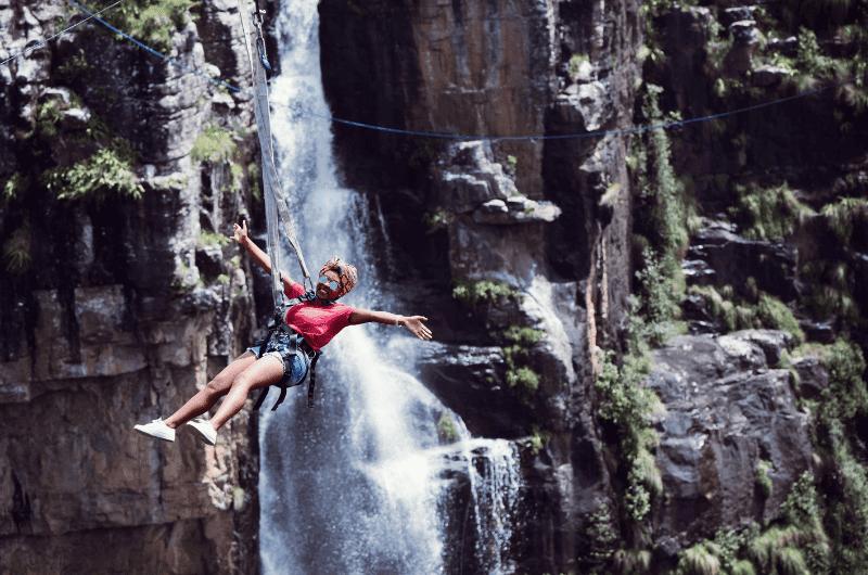 Woman on zipline in South Africa