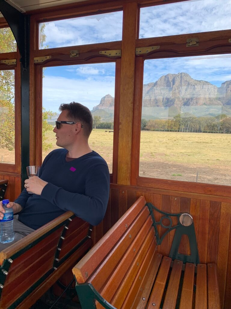 Wine tram in Franschhoek, South Africa