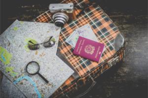 traveling, suitcase, passport, travel notes